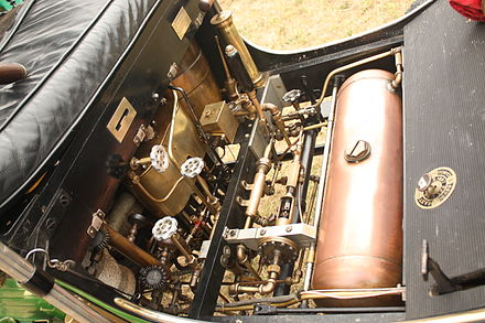 The engine of a modern Locomobile steam car - Steam car