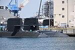 Stem of JS Seiryū(SS-509) & Oyashio class submarine right front view at U.S. Fleet Activities Yokosuka April 30, 2018 01.jpg