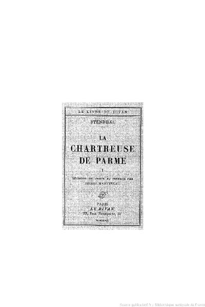 File:Stendhal - La Chartreuse de Parme, I, 1927, éd. Martineau.djvu