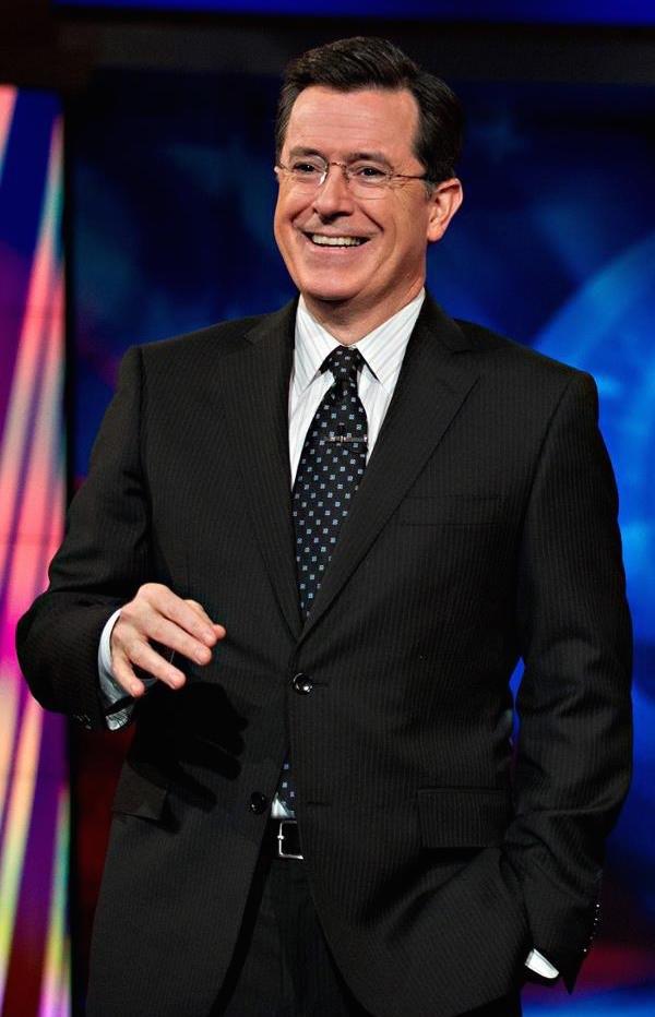 Stephen Colbert on set cropped