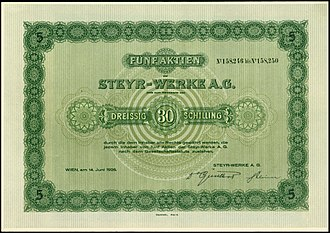 Steyr-Daimler-Puch - Share of the Steyr-Werke AG, issued 14. June 1926