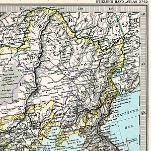 Yilan County, Heilongjiang - A German map from 1891 showing San sing at the fall of the Hurka River into the Sungari