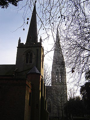 William Wilson (short story) - Stoke Newington retains two parish churches: St Mary's Old Church (left) and New Church (right)