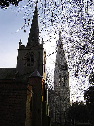 Newington Green Unitarian Church - St Mary's Old Church (left) and New Church (right)