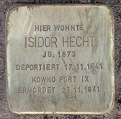Photo of Isidor Hecht brass plaque