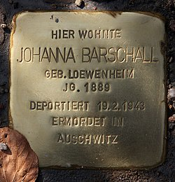Photo of Johanna Barschall brass plaque