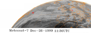 Cyclones Lothar and Martin - Storms Lothar (L) and Martin (M) viewed by satellite, December 26, 1999.