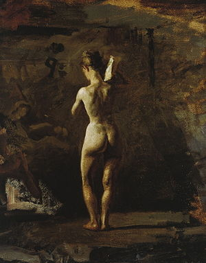 Figure study - Image: Study for 'William Rush Carving His Allegorical Figure of the Schuylkill River', 1876