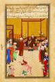 Sultan-Husayn Bayqara, possibly in conversation with Majd al-Din Muhammad Khvafi.png