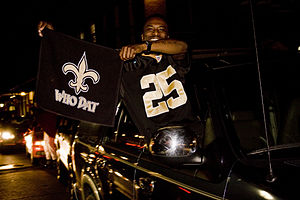 Who Dat? - Fans in New Orleans celebrating New Orleans Saints Super Bowl victory.