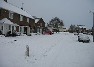 English: Sutton Road in winter Don't expect to...