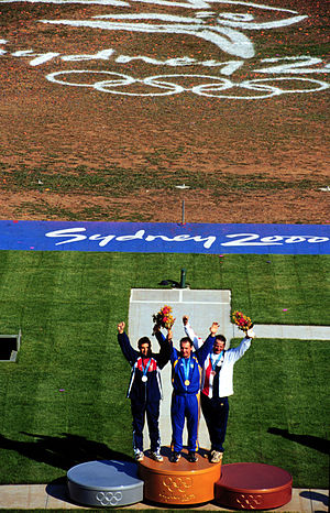 Shooting at the 2000 Summer Olympics - Men's skeet: Mykola Milchev (center), Petr Málek (left) and James Graves (right) won the last Sydney shooting medals.