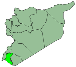 Map of Syria with Dara highlighted.
