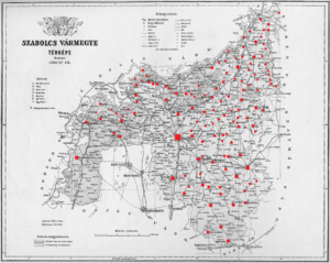 Szabolcs County - Ethnic map of the county with data of the 1910 census (see the key in the description).