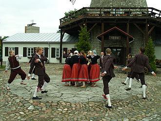 Group dance - Estonian folk dances are typically group dances. University of Tartu Folk Art Ensemble.