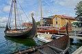 Tønsberg Norway Saga Oseberg Farmann Kristina av Tunsberg Viking ship replicas Harbour Havn Pier Board walk Dock Brygga Vikingodden Lindahlplan Kaldnes bro footbridge Kanalen Byfjorden Sjøbodkvaratlet 2019-08-16 04208.jpg