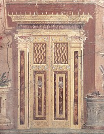 Comparison between a 1st century AD Roman wall painting of an ornate door, in the Villa Boscoreale (Italy); and a massive 19th century Neoclassical door of the Palais de Justice (Bruxelles, Belgium)