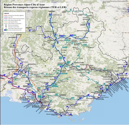 provence alpes côte d azur carte File:TER PACA, carte du réseau.png   Wikimedia Commons