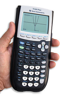 Graphing calculator handheld calculator that is capable of plotting graphs, solving simultaneous equations, and performing other tasks with variables