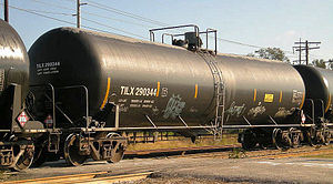 English: Modern tank cars such as TILX 290344 ...