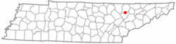 Location of Lake City, Tennessee
