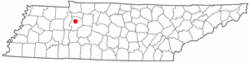 Location of Waverly, Tennessee