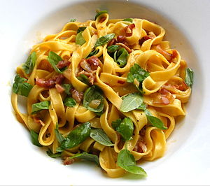 Tagliatelle carbonara with basil