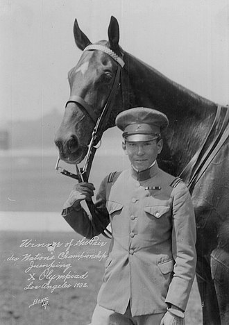 1932 Summer Olympics - Takeichi Nishi with Olympic steed, Uranus