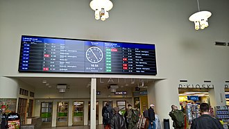 Tampere Central Station - Monitor in the station building