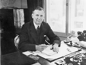 Harold Balfour, 1st Baron Balfour of Inchrye - Harold  Balfour as Under Secretary of State for Air, at his desk at the Air Ministry, London during the Second World War
