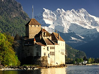 Dents du Midi - The Dents du Midi display their north wall prominently from Lake Geneva (here at Chillon Castle)