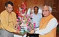 The Chief Minister of Haryana, Shri Manohar Lal Khattar meeting the Union Minister for Railways, Shri Suresh Prabhakar Prabhu, in New Delhi on August 06, 2015.jpg