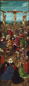 A crucifixión de Jan van Eyck, 1426. Metropolitan Museum of Art, Nova York.