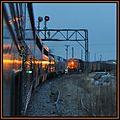 The Eastbound California Zephyr meets a BNSF freight train at Creston Iowa - panoramio.jpg