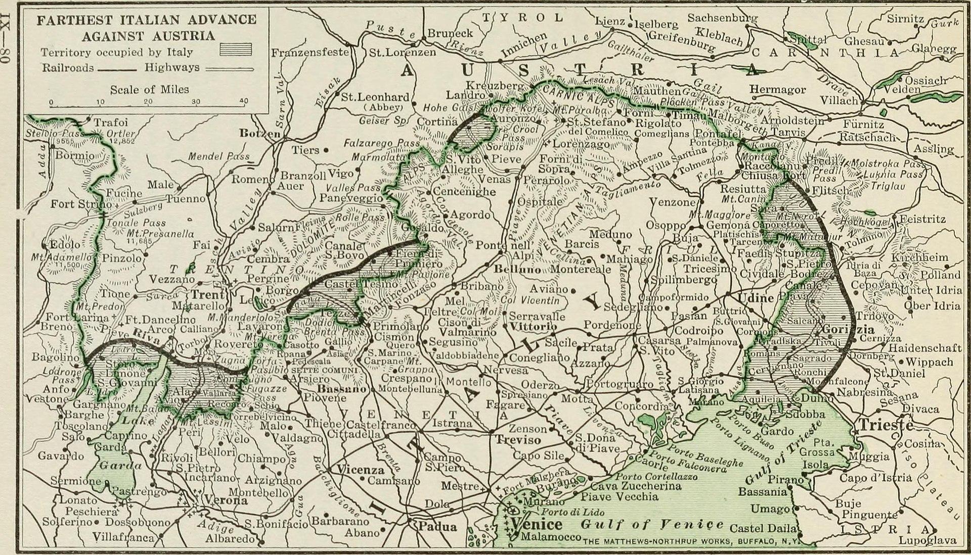Northeast Italy, farthest Italian advance against Austria-Hungary