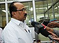 The Minister of State (Independent Charge) for Consumer Affairs, Food and Public Distribution, Professor K.V. Thomas interacting with the media after visiting the National Consumer Helpline, in New Delhi on June 03, 2011.jpg