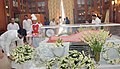 The Minister of State for Urban Development, Housing and Urban Poverty Alleviation, Shri Babul Supriyo paying homage at the mortal remains of Smt. Suvra Mukherjee, First Lady, at Rashtrapati Bhavan, in New Delhi.jpg