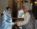 The President, Smt. Pratibha Devisingh Patil presenting the Padma Bhushan Award to Prof. Lord Meghnad Jagdish Chandra Desai at Civil Investiture-II Ceremony, at Rashtrapati Bhavan, in New Delhi on May 10, 2008.jpg