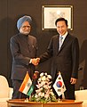 The Prime Minister, Dr. Manmohan Singh meeting with the President of Republic of Korea, Mr. Lee Myung Bak, during the G-8 Summit at Sapporo, in Japan on July 08, 2008.jpg