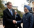 The Prime Minister, Dr. Manmohan Singh shaking hands with the Prime Minister of Finland, Mr. Matti Vanhanen, in Helsinki, Finland on October 12, 2006.jpg