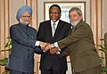 The Prime Minister, Dr. Manmohan Singh with the President of Brazil, Mr. Lula da Silva, and the President of South Africa, Mr. Kgalema Motlanthe, in New Delhi on October 15, 2008.jpg