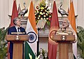 The Prime Minister, Shri Narendra Modi and the President of the Republic of Kyrgyzstan, Mr. Almazbek Sharshenovich Atambayev at the Joint Press Statement, at Hyderabad House, in New Delhi on December 20, 2016.jpg