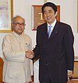 The Prime Minister of Japan, Mr. Shinzo Abe meeting with the Union Minister of External Affairs, Shri Pranab Mukherjee, in New Delhi on August 22, 2007.jpg