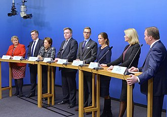 Prime minister - Prime ministers of the Nordic and Baltic countries in 2014. From left: Erna Solberg, Norway, Algirdas Butkevičius, Lithuania, Laimdota Straujuma, Latvia, Sigmundur Davíð Gunnlaugsson, Iceland, Alexander Stubb, Finland, Anne Sulling, Estonia (trade minister), Helle Thorning-Schmidt, Denmark, Stefan Löfven, Sweden.