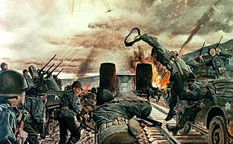 "9th Armored Division (United States) - ""Here, on the Ludendorf Bridge crossing the Rhine at Remagen, Combat Command B, 9th Armored Division -- headed by the 27th Armored Infantry Battalion -- with 'superb skill, daring and esprit de corps' successfully effected the first bridgehead across Germany's formidable river barrier and so contributed decisively to the defeat of the enemy. The 27th Battalion reached Remagen, found the bridge intact but mined for demolition. Although its destruction was imminent, without hesitation and in face of heavy fire the infantrymen rushed across the structure, and with energy and skill seized the surrounding high ground. The entire episode illustrates that high degree of initiative, leadership and gallantry toward which all armies strive but too rarely attain, and won for the Combat Command the Distinguished Unit Citation."""