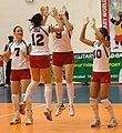 The U.S. Womens Volleyball team gets before a match against the Netherlands at the 2007 Military World Games.jpg