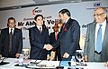 The Union Minister for Commerce and Industry, Shri Anand Sharma with the Prime Minister of Thailand, Mr. Abhisit Vejjajiva at a business meeting, in New Delhi on April 05, 2011.jpg