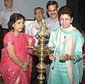 """The Union Minister of Housing and Urban Poverty Alleviation & Tourism, Kum. Selja lighting the lamp to inaugurate the """"Overseas Marketing Meet"""", in New Delhi on August 03, 2009.jpg"""
