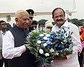 The Vice President, Shri M. Venkaiah Naidu being bid farewell by the Governor of Karnataka, Shri Vajubhai Rudabhai Vala, in Bengaluru, Karnataka on September 27, 2017.jpg
