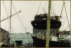 The first M48 tanks will be loaded on board TS Nabob, New York - 1959.jpg